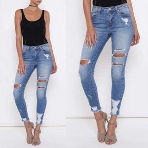 JAX Distressed Skinny Jeans